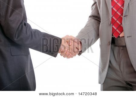 Business men hand shake isolated on white background