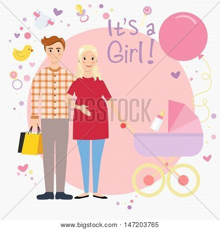 Illustration of a pregnant couple waiting for a baby girl. Happy family expecting baby. Pregnant wife and her husband. All the newborn stuff vector illustration.