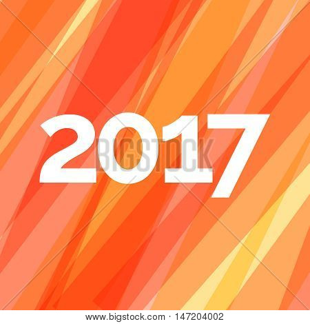 Happy new year 2017 creative greeting card design on red striped background. Vector illustration