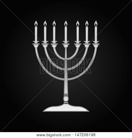 Silver Hanukkah menorah icon on black background. Vector Illustration