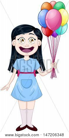 Vector illustration of a cute girl holding balloons.