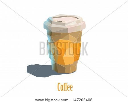 Vector polygonal illustration carton cup of cappuccino coffee, white background