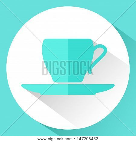 Icon. Cup and saucer in a flat style. Vector illustration.