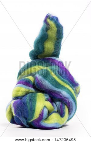 Hank merino wool colored on a white background