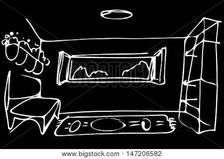 black and white vector sketch room sofa by the open window