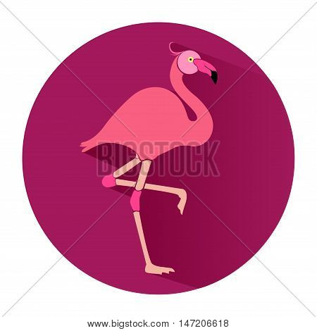 Pink flamingo in flat style. Icon. Vector illustration.