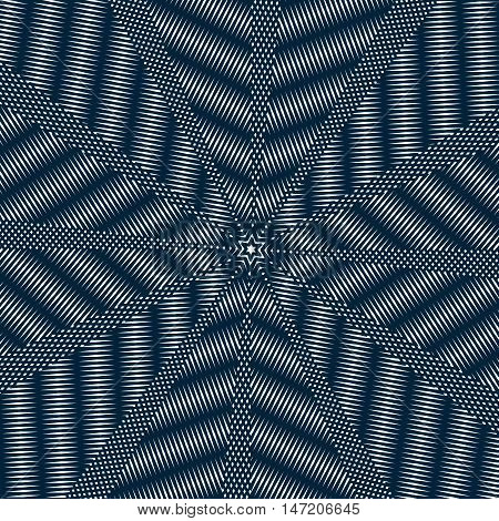 Optical illusion moire vector background abstract lined monochrome tiling. Unusual geometric pattern with visual effects.