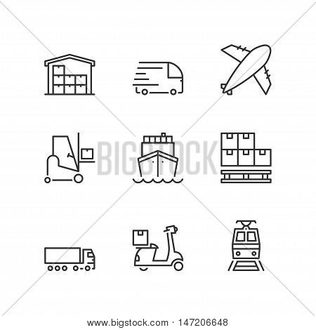 Thin line icons set about logistics. Flat symbols
