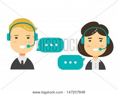 Vector flat character icons Male and female call center avatars. conceptual of communication.