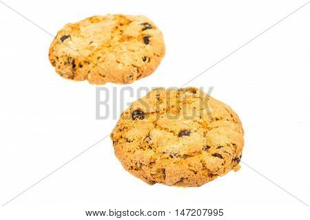 cookies with raisins on a white background