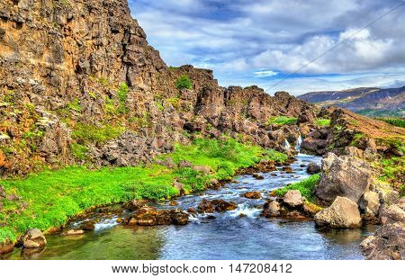 Water in a fissure between tectonic plates in the Thingvellir National Park - Iceland