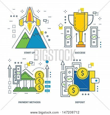 Concept of startup, success, payment methods, deposit. Color Line icons collection