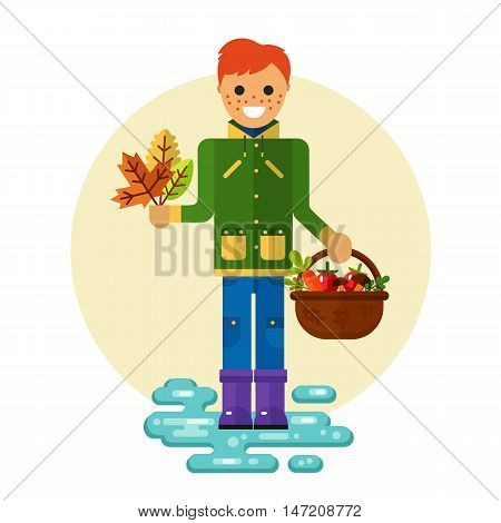 Flat design vector illustration of funny smiling boy in jacket and rubber boots holding bunch of leaves and basket with vegetables. Including autumn symbols: herbarium, harvest, leaf fall, puddle.