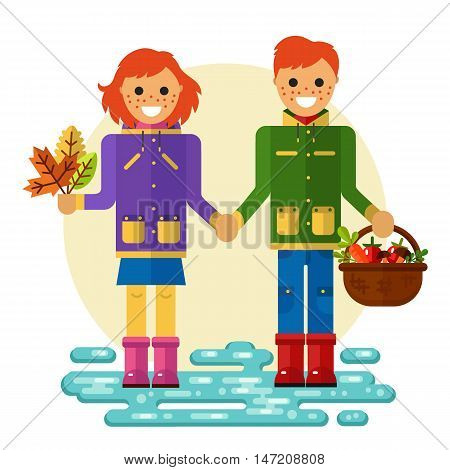 Flat design vector illustration of funny smiling boy and girl in jackets and rubber boots holding their hands. Including autumn symbols: basket with vegetables, bunch of leaves, leaf fall, puddle.