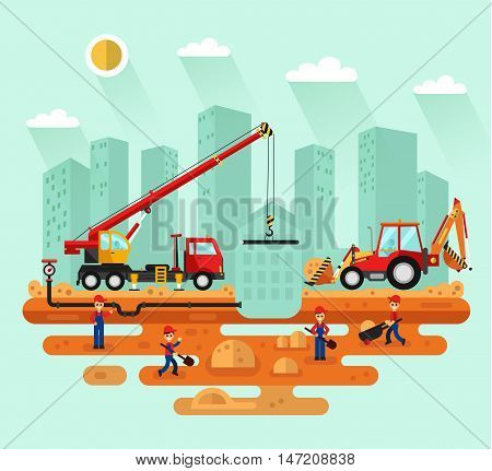 Flat design vector landscape illustration of construction process in the city. Truck crane and bulldozer laying of the pipes, workers with trolley and shovel. Industrial landscape.