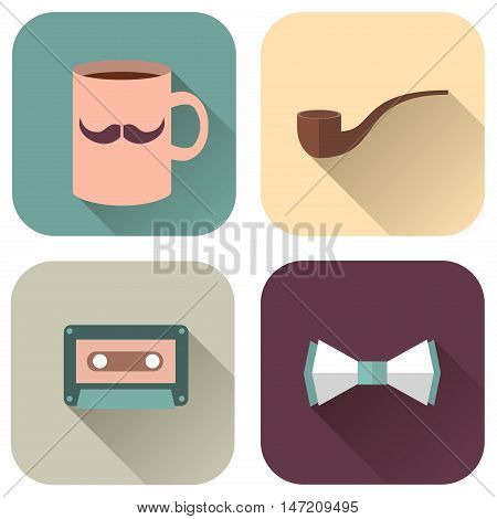 Vector Illustration of Hipsters Accessories. Icons cup with mustache pipe audiocassette and bow tie