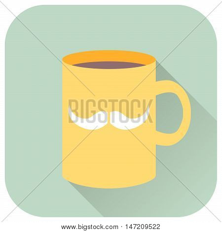 Vector illustration flat icon of cup with mustache