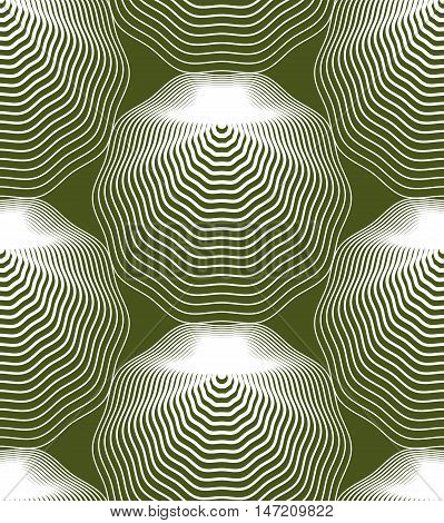 Green illusive abstract seamless pattern with geometric figures. Vector symmetric simple backdrop.