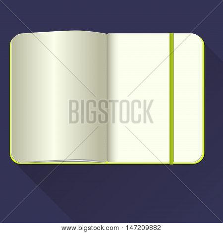Open notebook with bookmark isolated on blue.