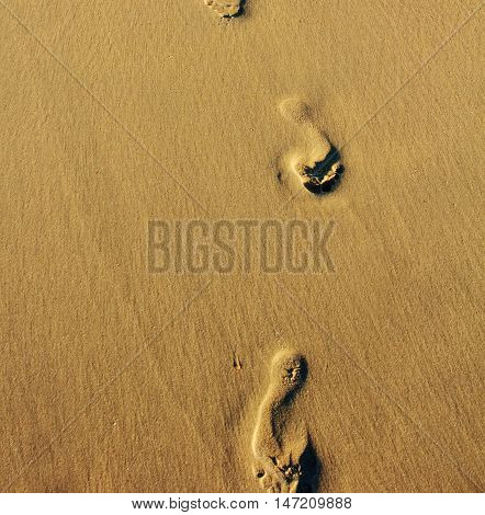Footprints in the sand at sunrice background