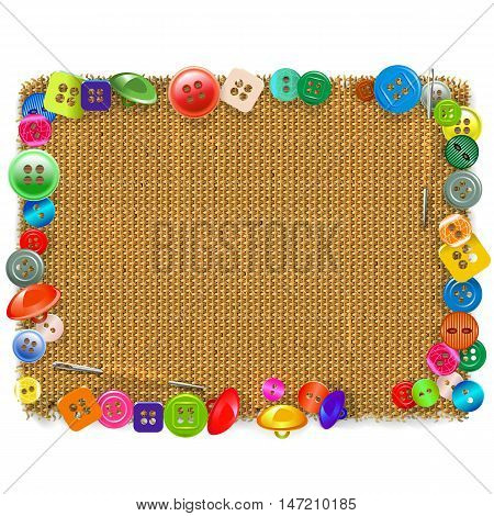 Vector Sackcloth Frame with Buttons isolated on white background