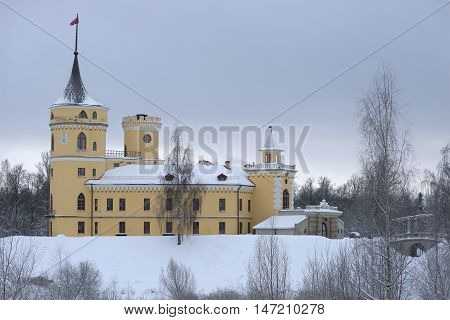 SAINT PETERSBURG, RUSSIA - DECEMBER 27, 2014: A view of the castle Bip, gloomy december day. Historical landmark of the Pavlovsk