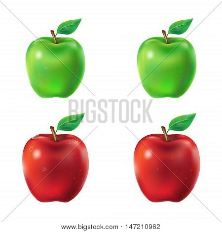Set of vector illustration of a juicy green and red apples with leaf and dew drops.