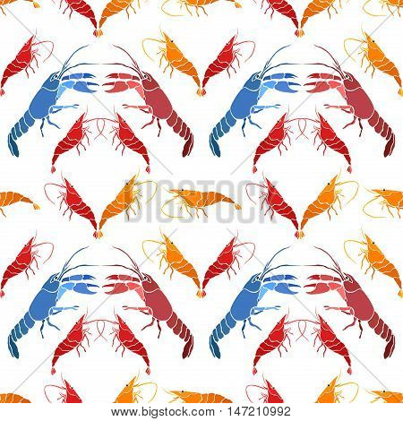 Seamless pattern of sea creatures. Pattern of crayfish and shrimp.