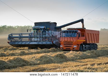 KRASNODAR REGION, RUSSIA - JUL 6, 2015: Harvester loading grain into truck, In 2015 in Krasnodar region have collected record grain harvest - 102 million tons of grain