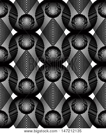 Geometric monochrome stripy overlay seamless pattern black and white vector abstract background. Graphic symmetric backdrop with overlapping geometric shapes.