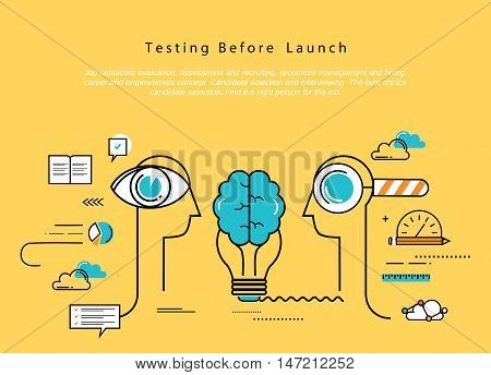 Line flat vector business design and infographic elements for website design process, application development, analysis, concept and strategy, designing and testing, optimization and launching