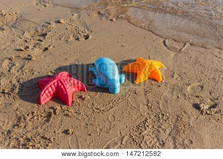 Summer Holiday, Beach Waves Starfish and colored toys