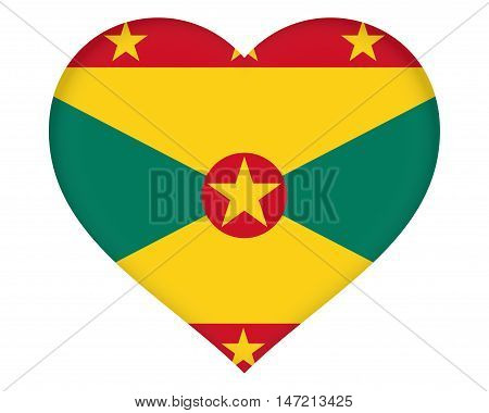 Illustration of the flag of Grenada shaped like a heart