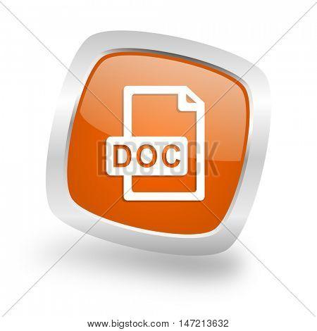 doc file square glossy orange chrome silver metallic web icon