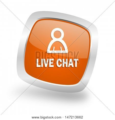 live chat square glossy orange chrome silver metallic web icon