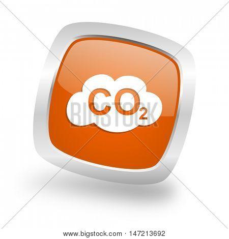 carbon dioxide square glossy orange chrome silver metallic web icon
