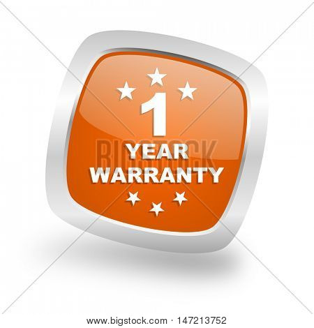 warranty guarantee 1 year square glossy orange chrome silver metallic web icon