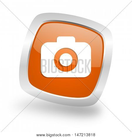 photo camera square glossy orange chrome silver metallic web icon
