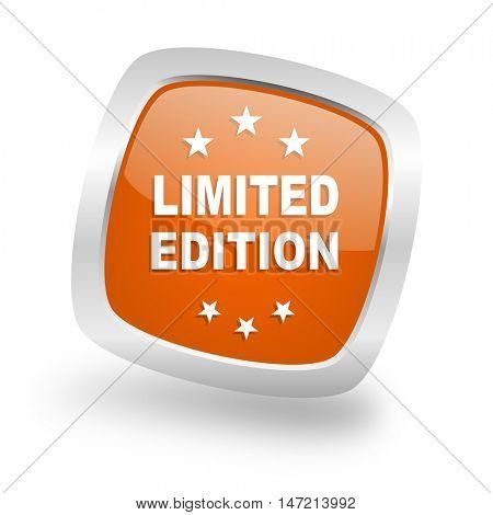 limited edition square glossy orange chrome silver metallic web icon