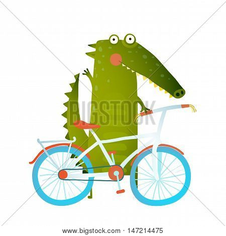 Funny crocodile with bicycle. Cute wild bicyclist. Isolated cartoon character for children books, greeting cards and other design projects. Vector illustration