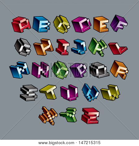 Cybernetic 3d alphabet letters pixel art vector digital typescript. Pixel design elements contemporary dotted font made in technology style.