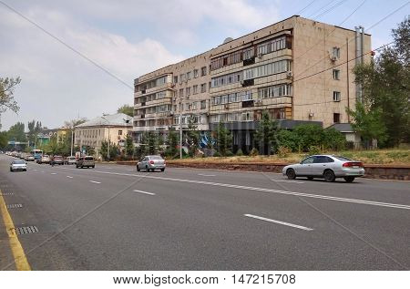 ALMATY KAZAKHSTAN - SEPTEMBER 12 2016: Central street named of Furmanov. Almaty is the largest city in Kazakhstan and was the country's capital until 1997.