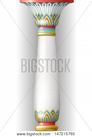 Ancient ornamentation column in the Egyptian, Sumerian or Persian style. Floral ornament to the Middle Eastern or Russian style. Vector graphics.