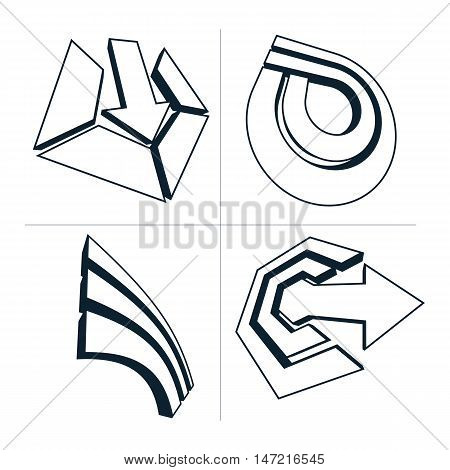 Three-dimensional Graphic Elements Collection With Simple Arrows, Business Development And Technolog