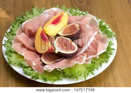 Prosciutto Served With Figs And Peaches