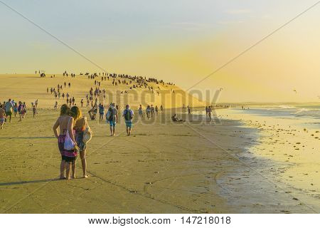 Peope Walking Towards Dune Jericoacoara Brazil