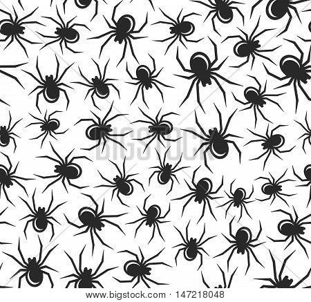 Black Halloween Spiders Seamless Pattern. Vector Illustration