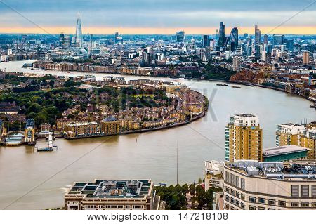 London Skyline, Aerial View With Landmarks