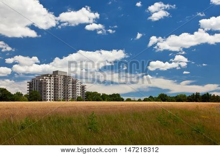 Modern living in harmony with nature environment landscape perspective view