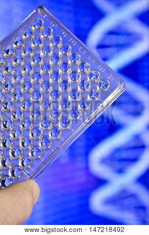 DNA testing in genetic laboratories. Biological scientific equipment.